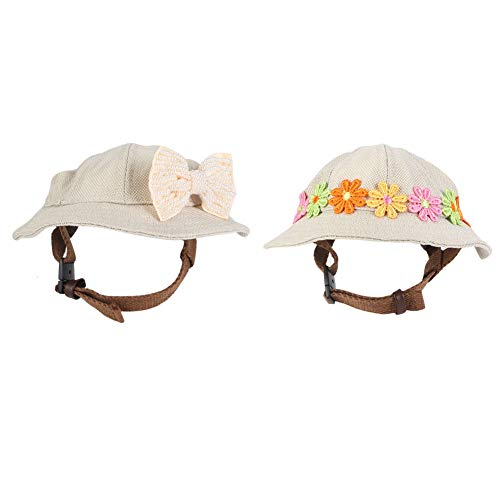 2 stks hond hoeden, puppy outdoor modieuze hoed met oor gaten en verstelbare riem leuke duurzaam ademend porie mesh zon strand hoed(M)