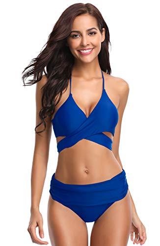 SHEKINI Women's Push-up Halter Bandage Bikini Swimsuits Ruched Swim Bottoms (Sapphire Blue, Small)