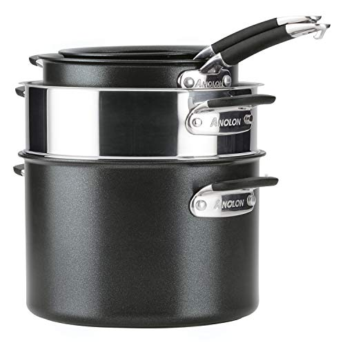 Anolon Smart Stack Hard Anodized Nonstick Cookware, 11 Piece Set, Black