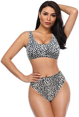 SHEKINI Damen Sportliche Zweiteiliger Bikinis Sexy Leopardmuster Bikini Set High Waist Bauchweg Hose Weste Rückenfrei Stil (M, Schwarz Leopard)