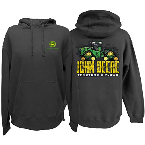 John Deere Tractors & Plows Hooded Sweatshirt-Charcoal-L