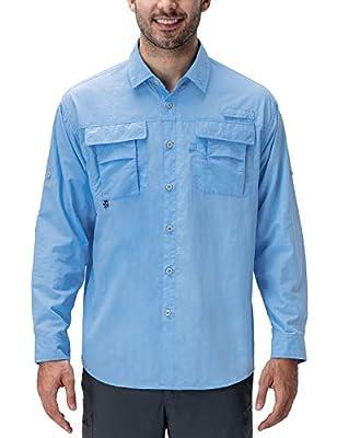 Naviskin Men's UPF 50+ Sun Protection Fishing Shirt Long Sleeve Quick Drying Lightweight Hiking Shirt Cooling Bluebell Size M