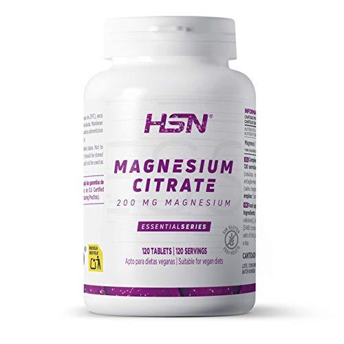 Citrato de Magnesio de HSN | 200mg de Magnesio Elemental por Tableta | Evitar Calambres, Salud Articular, Más Energía y Reduce la Fatiga | Vegano, Sin Gluten, Sin Lactosa, 120 Tabletas