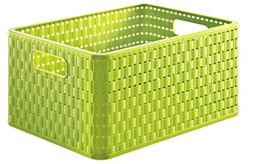 Rotho Country Aufbewahrungskiste 18l in Rattan-Optik, Kunststoff (PP) BPA-frei, grün, A4/18l (36,8 x 27,8 x 19,1 cm)