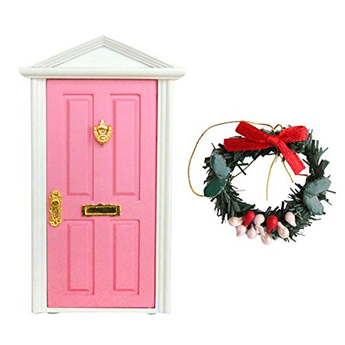 FLAMEER Miniatur Weihnachtsgirlanden & Hoztür Puppenhausmöbel für 1:12 Puppenstube Weihnachten Deko - Rosa