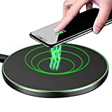 MMOBIEL Wireless Charger Pad Aluminium Body Upgraded 5W/7.5W/10W for iPhone 12/12 Pro(Max)/11/X/8(+) Samsung Galaxy S20(+)/S10(+)/S9(+) Note 20/10/9 AirPods Pro/2/1 - No AC Adapter (Black)