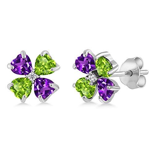 Gem Stone King 925 Sterling Silver Purple Amethyst and Green Peridot Earrings For Women (2.23 Ct Heart Shape)