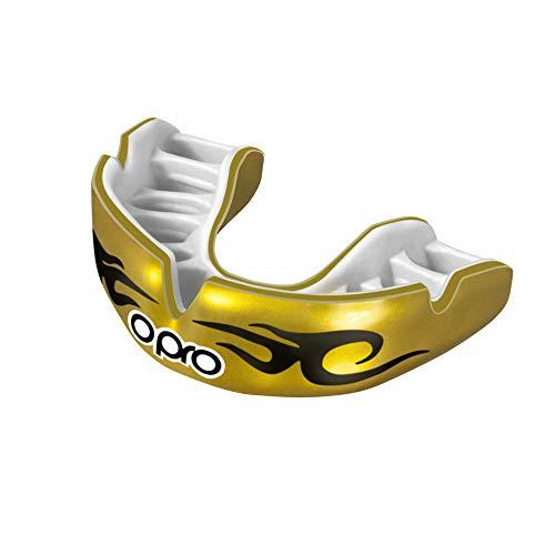 Opro Power-Fit   Adult Handmade Mundschutz   Gummischild für Rugby, Hockey, und andere Kontakt - und Kampfsportarten (ab 10 Jahren)   18 Monate zahnärztliche Garantie (Städtisch - Gold/Weiß)