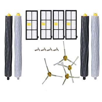 FTAID Replacement Parts for iRobot Roomba 800 900 Series 805 850 860 861 866 870 871 880 890 960 980 981 Vacuum Cleaner Accessories 2 Set Debris Extractors 4 Filters 4 Side Brushes & Screws  2+4+4