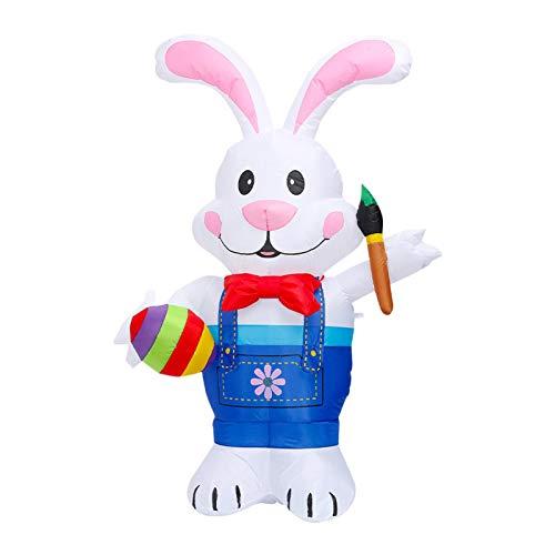 6 pies inflables de decoración de Pascua, conejo de Pascua, huevos de pascua, decoración inflable, con LED, con pincel para mantener, decoración de fiesta (enchufe europeo)