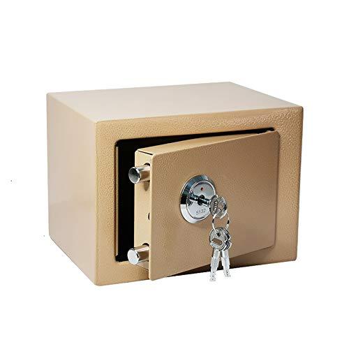 Caja Fuerte, Caja Fuerte De Acero, Caja Fuerte Antirrobo con Cerradura Mecánica Mini, Adecuada para Hotel De Oficina En Casa,Oro,A