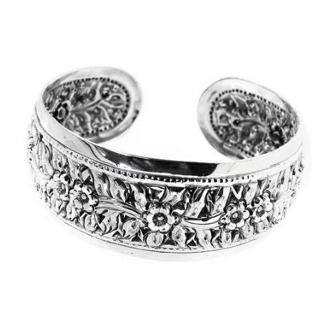 TreasureBay Brazalete de plata para mujer con estampado floral, brazalete de plata de ley 925 maciza para mujer