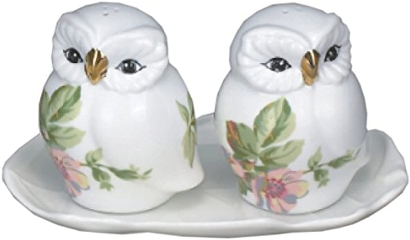 Green Pastures Wholesale Tray With Owl Porcelain Salt And Pepper Shakers 4 Inch Tall With 6 Inch