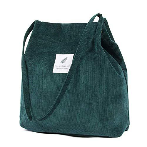 ZhengYue Handtasche Umhängetasche Damen Groß Cord Tasche Damen Handtasche Shopper Damen für Uni Arbeit Mädchen Schule Grün