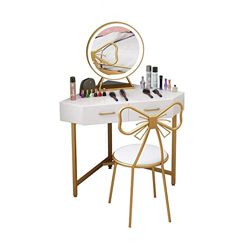 Tägliche Ausrüstung Schminktisch Tischset mit beleuchtetem Spiegelbogen Gepolsterter Hocker Make-up Schminktisch mit 2 Schubladen Praktisch und bequem (Farbe: Weiß...