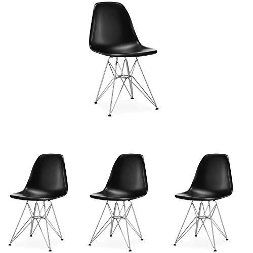 N/A Juego de 4 sillas de comedor Cómoda silla de estilo escandinavo de acero fundido para comedor, sala de estar y cocina