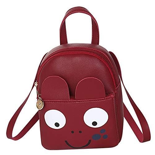 VICTOE Mini-Rucksack für Damen, PU-Leder, kleine Schultertasche für Mädchen, lustige Cartoon-Augen, kleiner Rucksack, einfarbig, Smiley, junge Schulrucksack, rot (Rot) - VICTOE-8657