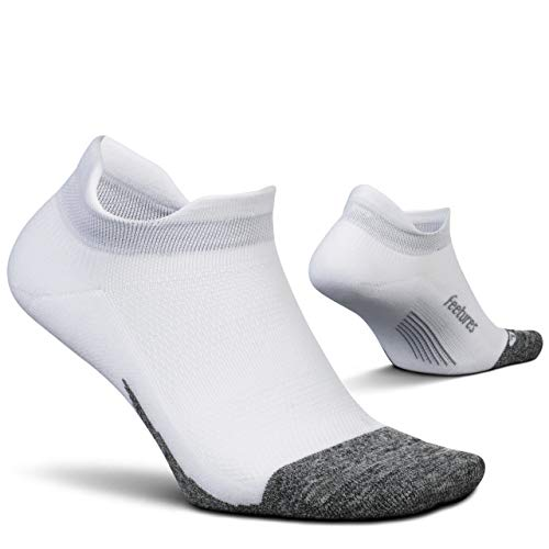 Feetures - Elite Light Cushion - No Show Tab - Calcetines deportivos para correr para hombres y mujeres - Blanco - Talla Mediana