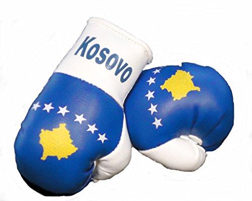 Sportfanshop24 Mini Boxhandschuhe Kosovo, 1 Paar (2 Stück) Miniboxhandschuhe z. B. für Auto-Innenspiegel