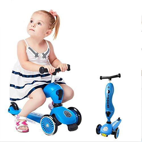 ZHUZEwei Scooter Tres En Uno Tres Ruedas Tri Scooter For Niños, Niños, Plegable, Altura Ajustable (Rojo, Azul, Verde) (Color : Blue)