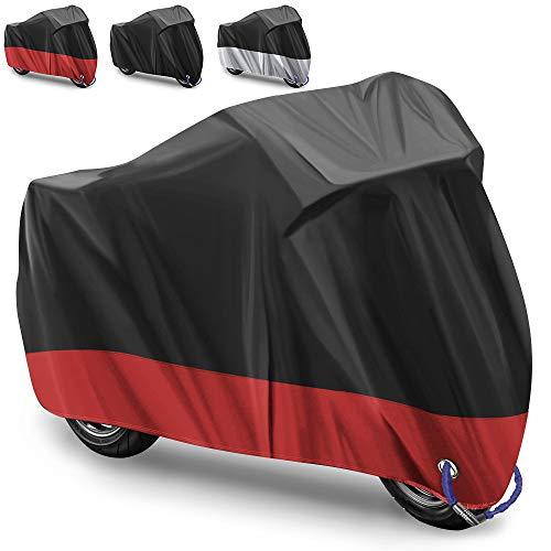 Funda para Moto Cubierta de la Moto Funda Protector para Moto Impermeable Funda para Moto 210D Tela Oxford Cubierta Protector Impermeable al Aire Libre contra Lluvia,Sol- 245X105X125cm (Rojo)