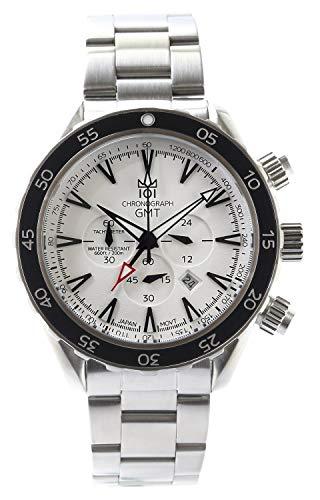 [HYAKUICHI 101] ヒャクイチ 腕時計 GMT ダイバーズウォッチ 20気圧防水 クロノグラフ メンズ スモールセコンド ホワイト