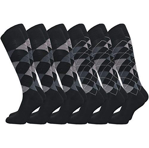 Gawilo - Calcetines hasta la rodilla para hombre, 6 pares, diseño de