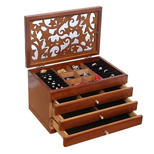 WGGTX Cajas y organizadores de Joya Multi-Capa marrón 2/4 Pisos de Madera Caja de joyería de joyería de exhibición de ataúd Pendientes Cajas de Anillos Organizador de joyería Caja de Regalo