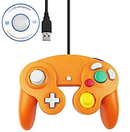 Mekela 5.8-Foot Classic USB Wired NGC Controller Gamepad for Gamecube Windows PC MAC (1 Pack) (Orange)