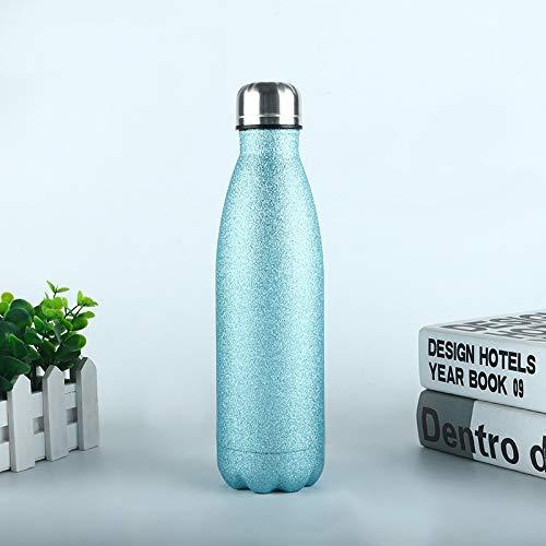 Heliansheng Termo de Botella de Agua de Pintura Flash de Botella Deportiva de Acero Inoxidable 304 para exteriores-azul-500ml-G151