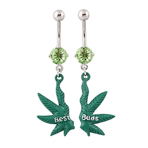Belly Piercing Ring Pot Marijuana leaf Navel Green Weed Best Buds Pair