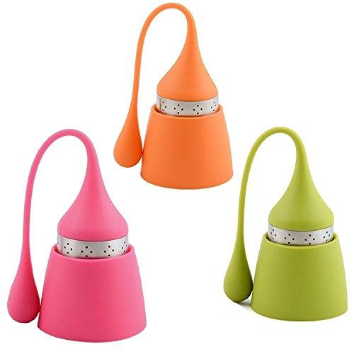 iNeibo Teesieb Teeei für Loses Tee aus Rostfreiem Edelstahl und Lebensmittelechtem Silikon, hübsches Teefilter mit Auffangbehälter. 3er Set Pink Orange und Grün