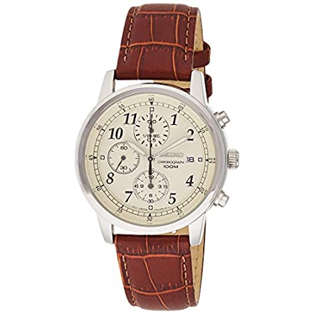 Fashion Shopping Seiko Men's SNDC31 Classic Stainless Steel Chronograph Watch with Brown Leather Band