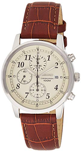 Seiko Men's SNDC31 Classic Stainless Steel Chronograph Watch with Brown Leather...