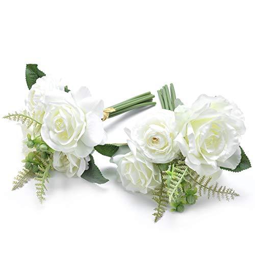 LY4U 2er Pack künstliche Blumen Rosensträuße, 7 Köpfe Seide Braut Hochzeitsstrauß, gefälschte gekräuselte Rosen für die Inneneinrichtung Tischdekoration (28 cm hoch ohne Vase)