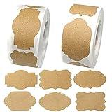 hocadon 600 Piezas Etiquetas Papel Kraft Autoadhesivas, Pegatinas de Papel Kraft Natural, DIY Etiquetas Adhesivas Kraft Blanco para Decoración, Botellas, Frascos, Regalos, 6 Diseños(3x5cm)