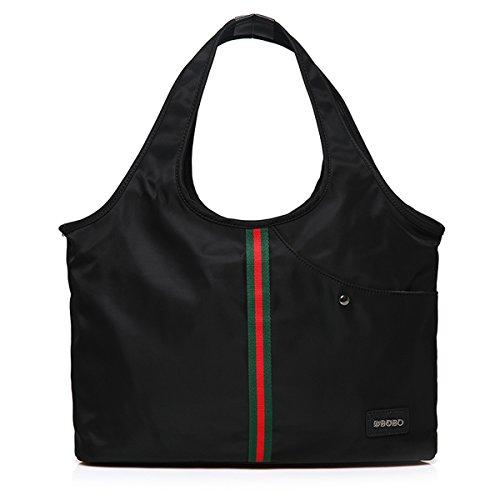 Hiigoo Women's Nylon Oxford Handbags Shoulder Bags Travel Bag Casual Totes Purses (Black 1#)