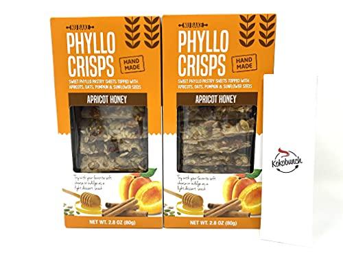 Phyllo Crisps Pastry Dough Sheets Crisp Snack Variety Bundle - Apricot Honey with Kokobunch Kit by Nu Bake | 2 Pk - 2.8 oz