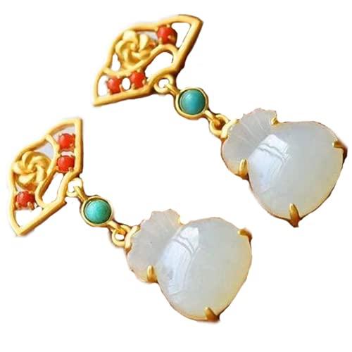 Pendientes de monedero de jade blanco natural Hetian estilo chino retro artesanías joyería de las mujeres