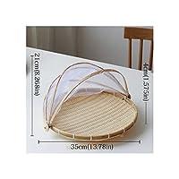 手作り竹編みバグ証拠Wバスケット防塵ピクニックトレイ食品パン料理カバーガーゼ、Round35Cm