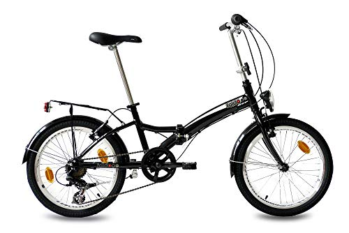 KCP 20' Folding Bike Alloy City Bike FOLDO 6 Speed Shimano Unisex Black (s) - (20 Inch)