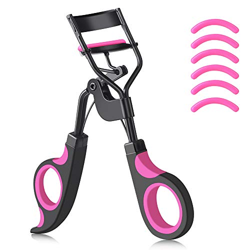 IYOCHO Painless metal eyelash curler with 6 replaceable silicone pads, Fits All Eye Shapes Get The Perfect Curl in 3 Seconds