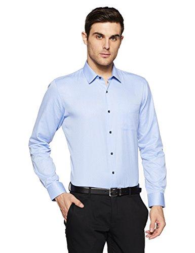 Peter England Men's Plain Slim Fit Formal Shirt (PSF318003238_Lightbluewithwhite_40)