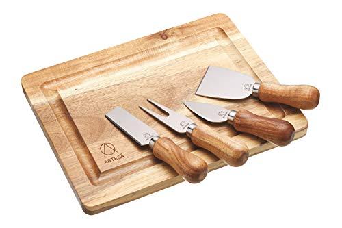 Kitchen Craft Master Class 25,5 x 20 x 1 cm, in Legno Acacia Tagliere per Formaggi Artesa-Set di 4 coltelli da Formaggio, Acciaio Inox, Colore: Multicolore