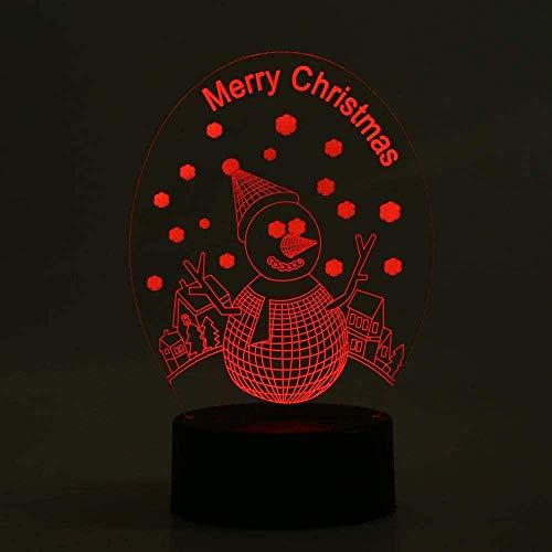 Lámpara de decoración de ilusión de luz de noche Led 3D lindo muñeco de nieve Usb Rgb 16 7 3 colores cambiante de mesa de noche Dacoration