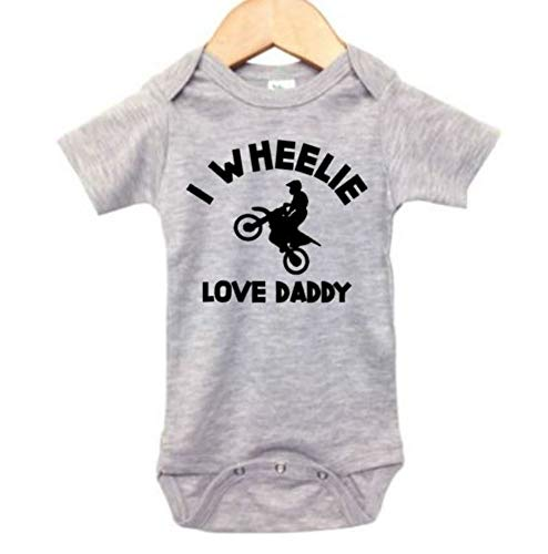 Dirt Bike Onesie/I Wheelie Love Daddy/Motocross Bodysuit/Unisex Bodysuit (0-3M, Grey SS(Black Text))