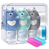 3 Stück Bär Silikon Reise Flaschen Set - BPA-frei und TSA-Airline Genehmige Reiseflaschen -...