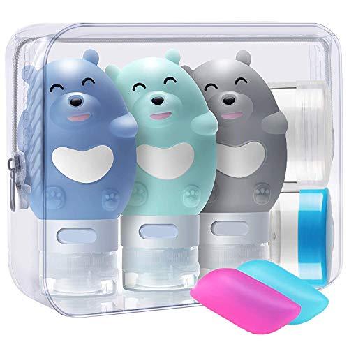 3 Stück Bär Silikon Reise Flaschen Set - BPA-frei und TSA-Airline Genehmige Reiseflaschen - Reisebehälter mit Etikett für Shampoo/Duschgel/Kosmetik Flüssigkeit (80 ml)
