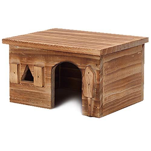 Noblik Natural Rectángulo de Madera Peque?o Animal Mascota Hamster Casa Cama Verano Fresco Conejillo de Indias Erizo Chinchilla Casa Jaula Nido Hámster Masticar Accesorio de Juguete