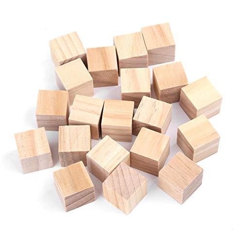 Mattoncini Legno, Akozon Blocchi di Legno Craft Natural Square Cubi di Legno per Artigianato Fatti a Mano Giocattolo per Bambini Home Decor(20pz 20mm)